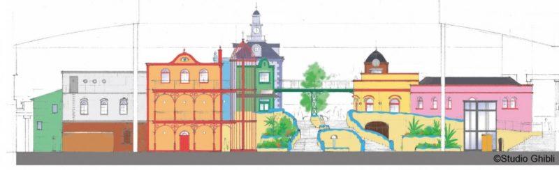 「ジブリの大倉庫エリア」の正面からの設計図
